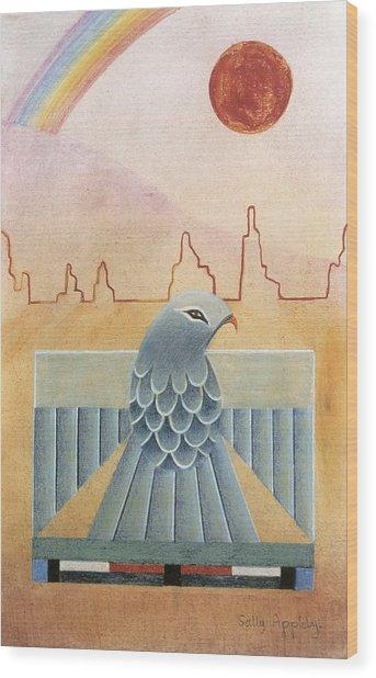 Thunderbird And Rainbow Wood Print by Sally Appleby