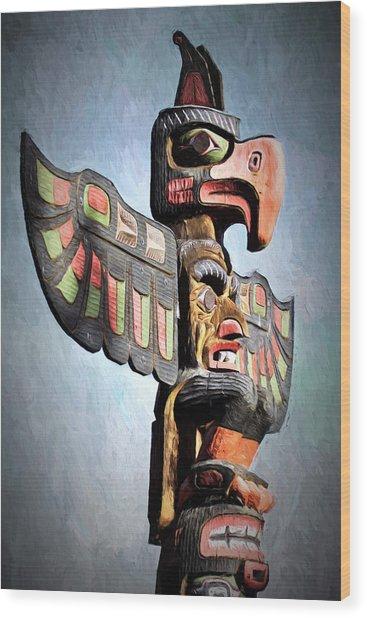 Thunderbird Totem Pole - Thunderbird Park, Victoria, British Columbia Wood Print