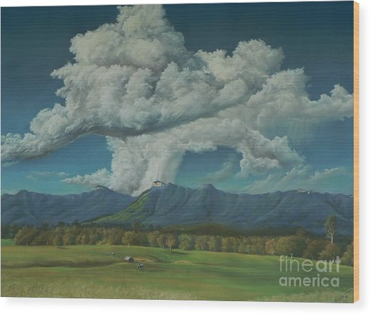 Thunderhead Over Lansdowne Wood Print by Louise Green