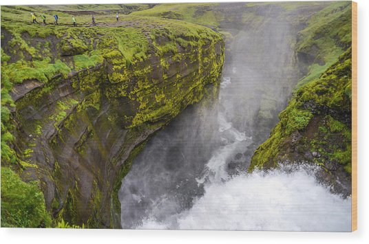 Thundering Icelandic Chasm On The Fimmvorduhals Trail Wood Print