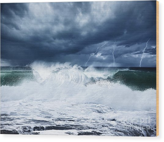 Thunderstorm And Lightning On The Beach Wood Print
