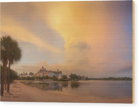 Thunderstorm Over Disney Grand Floridian Resort Wood Print