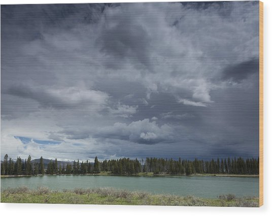 Thunderstorm Over Indian Pond Wood Print