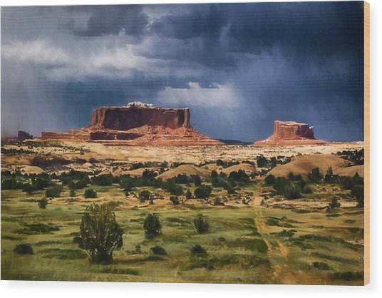 Thunderstorms Approach A Mesa Wood Print
