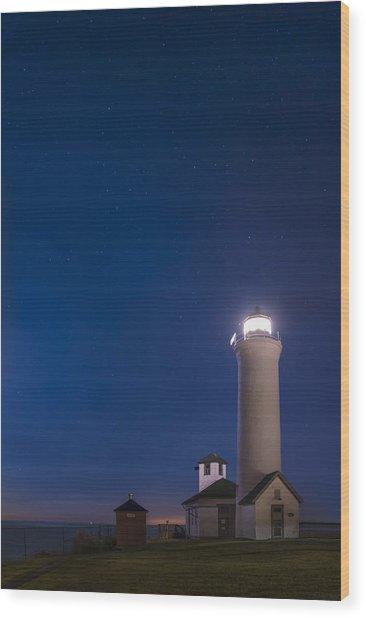 Tibbets Point Light Night Wood Print