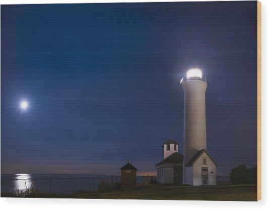 Tibbets Point Night Wood Print