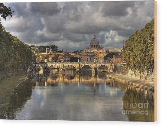 Tiber River Wood Print