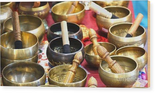 Tibetan Bronze Singing Bowls Wood Print