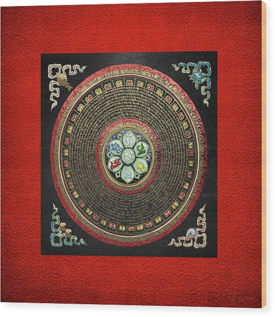 Tibetan Om Mantra Mandala In Gold On Black And Red Wood Print