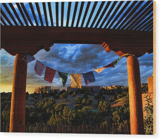 Tibetan Prayer Flags Outside My Office At Sundown Wood Print