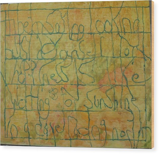 Wood Print featuring the painting Tibetan Saying by AJ Brown