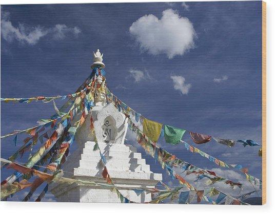 Tibetan Stupa With Prayer Flags Wood Print