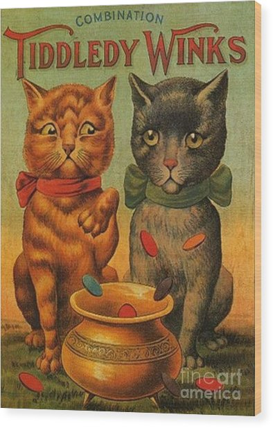 Tiddledy Winks Funny Victorian Cats Wood Print