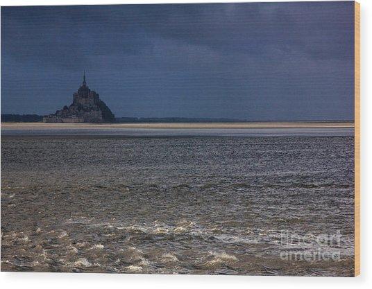 Tide In Mont Saint-michel Bay Wood Print