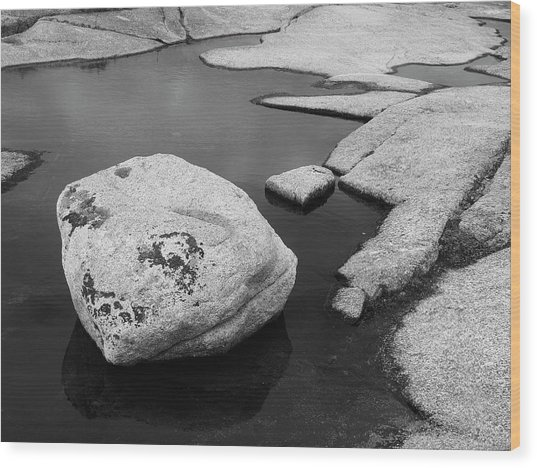 Tide Pool Boulder Wood Print