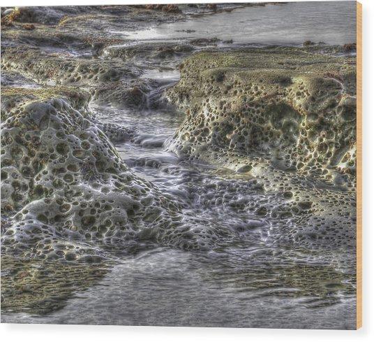 Tide Pool Waterfall Wood Print