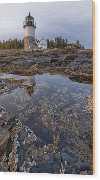 Tide Pools At Marshall Point Lighthouse Wood Print