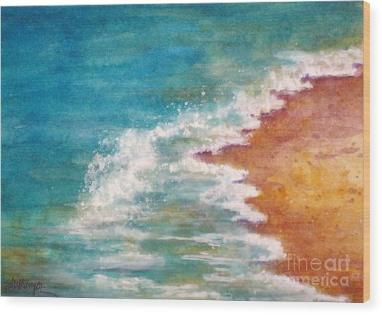 Tide Rushing In Wood Print