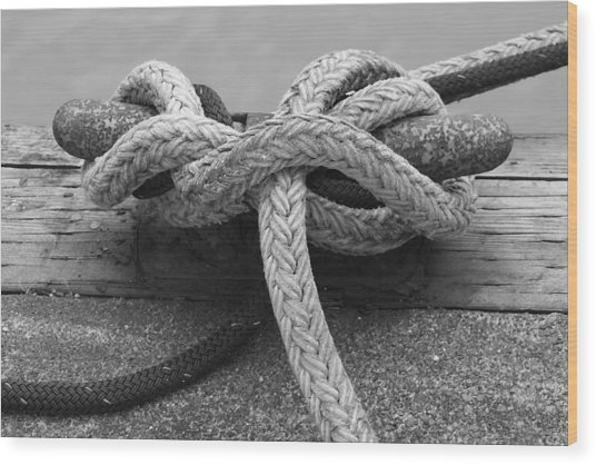 Tied Up Wood Print
