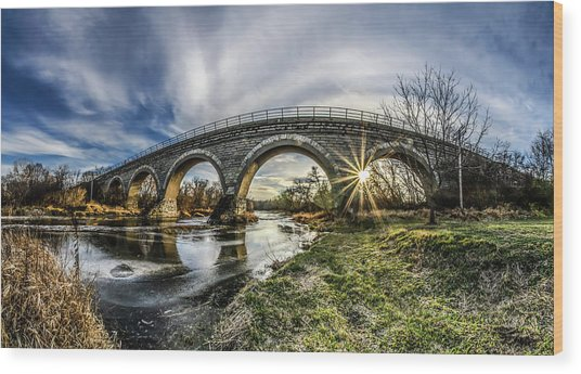 Tiffany Bridge Panorama Wood Print