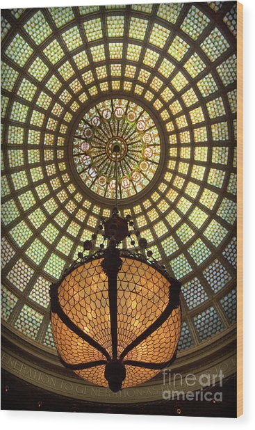 Tiffany Ceiling In The Chicago Cultural Center Wood Print