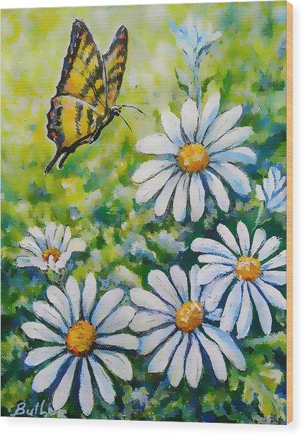 Tiger And Daisies  Wood Print