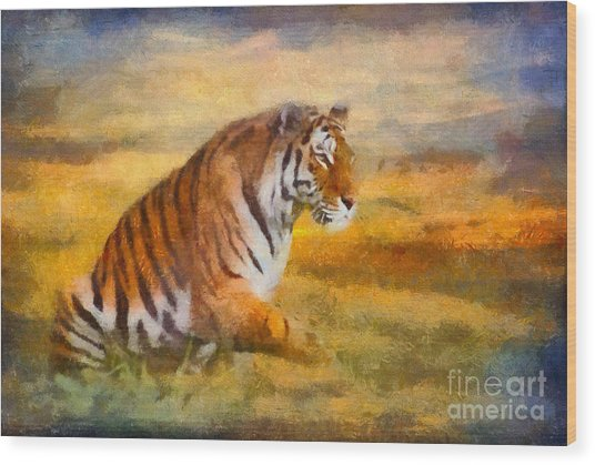 Tiger Dreams Wood Print