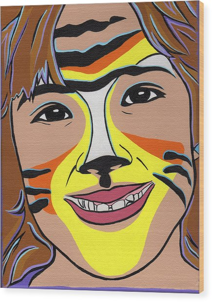 Tiger Girl Wood Print by Lucia  Perez