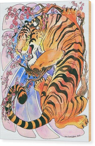 Tiger In Cherries Wood Print