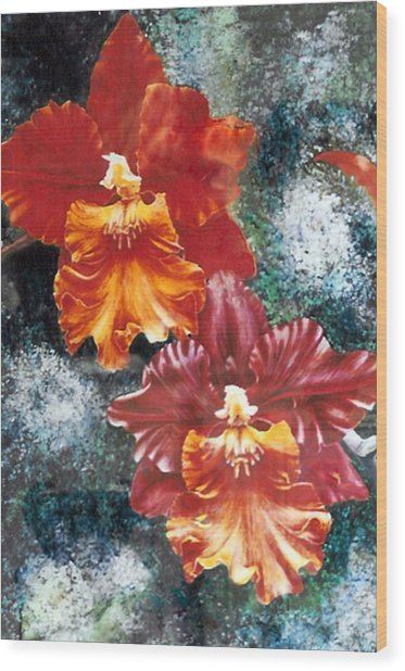 Tiger Orchids Wood Print by JoLyn Holladay