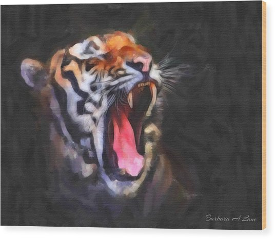 Tiger Roar Wood Print