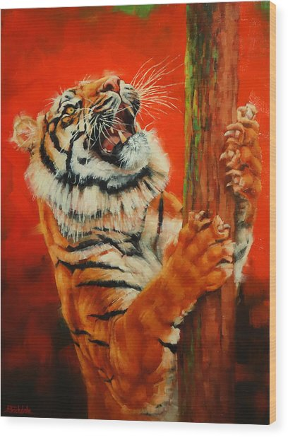 Tiger Tiger Burning Bright Wood Print