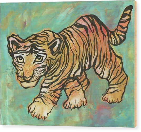 Tiger Trance Wood Print