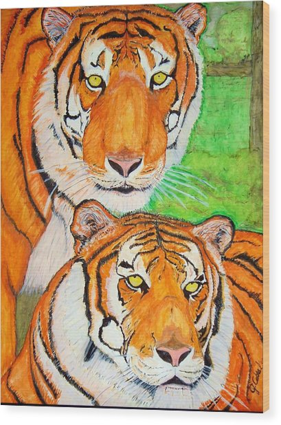 Tiger Twins Wood Print by Jose Cabral