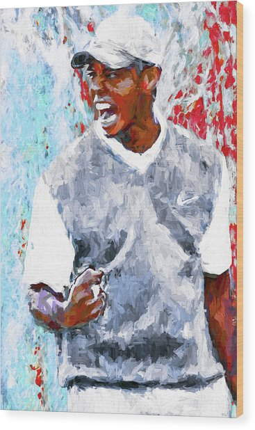Tiger Woods One Two Red Painting Digital Wood Print