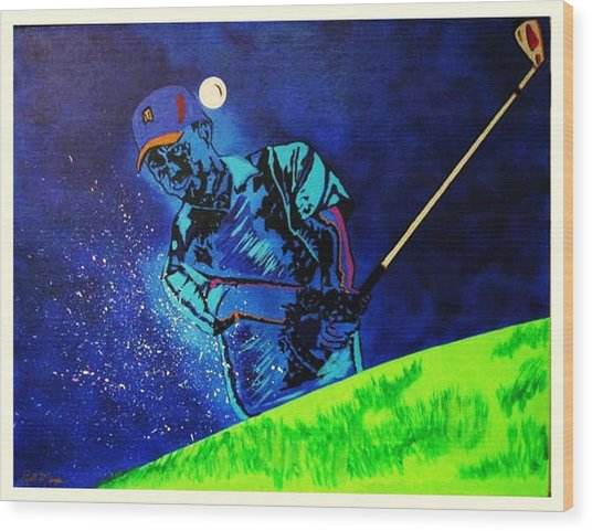 Tiger Woods-playing In The Sandbox Wood Print