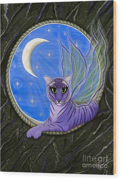 Tigerpixie Purple Tiger Fairy Wood Print