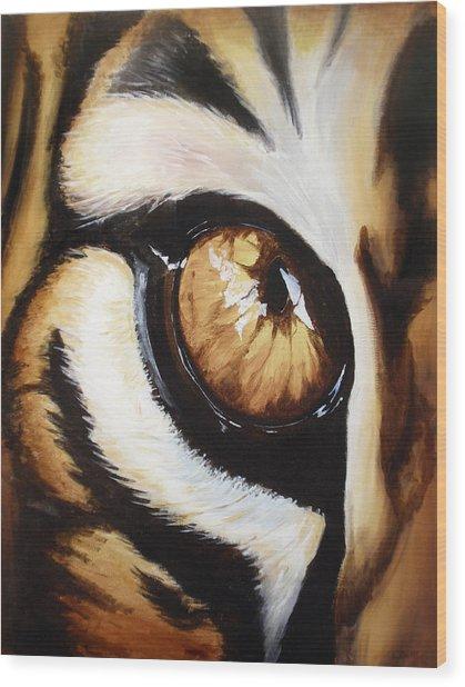 Tiger's Eye Wood Print by Lane Owen