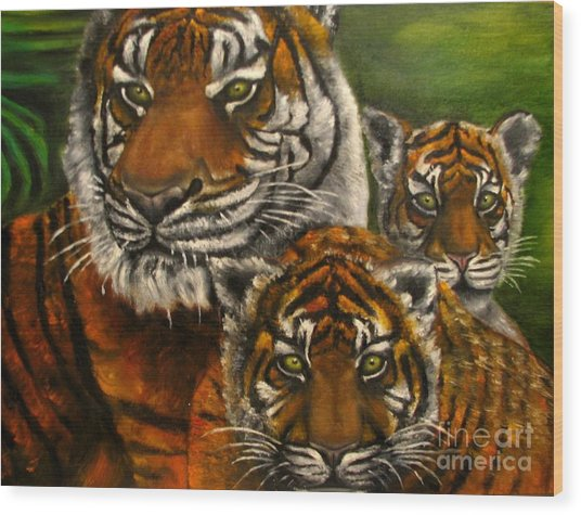 Tigers Family Oil Painting Wood Print by Natalja Picugina