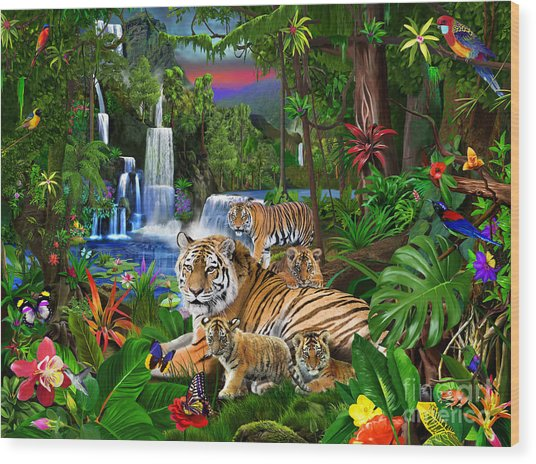 Tigers Of The Forest Wood Print