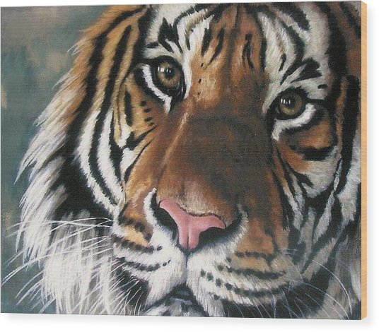 Wood Print featuring the pastel Tigger by Barbara Keith
