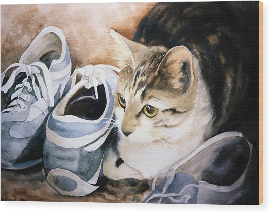 Tigger With Sneakers Wood Print