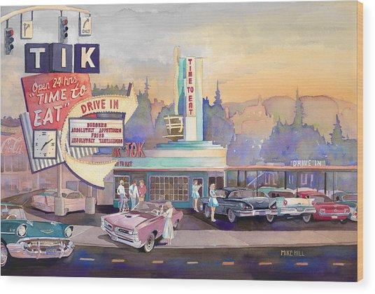 Tik Tok Drive-inn Wood Print