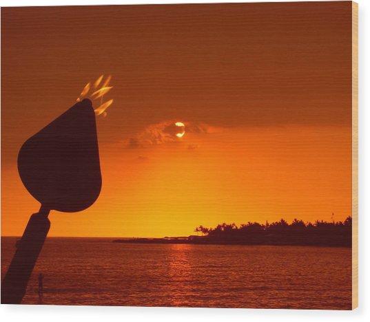 Tiki Lights In Kona Wood Print