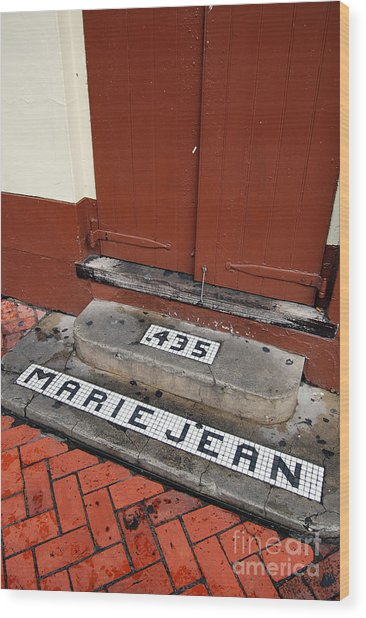Tile Inlay Steps Marie Jean 435 Wooden Door French Quarter New Orleans Wood Print