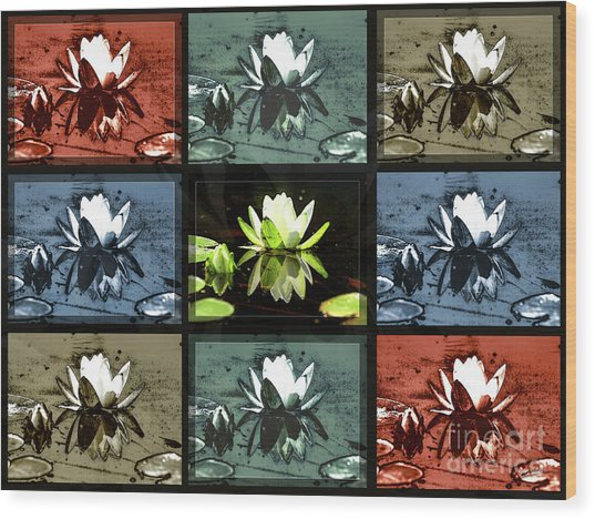 Tiled Water Lillies Wood Print