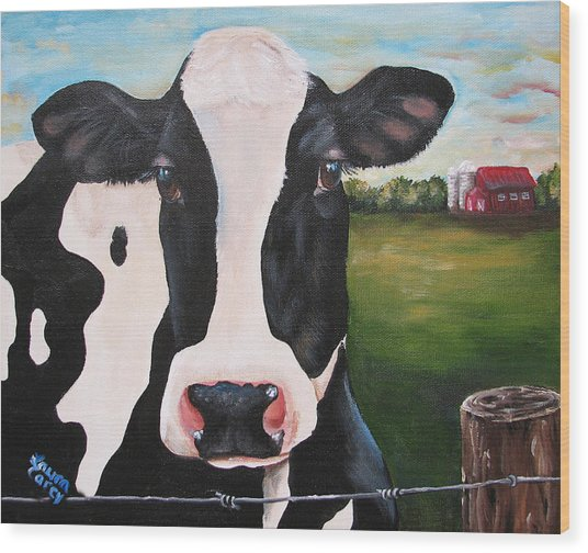 Till The Cows Come Home Wood Print by Laura Carey