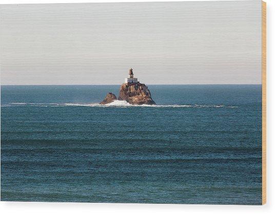 Tillamook Rock Lighthouse On A Calm Day Wood Print