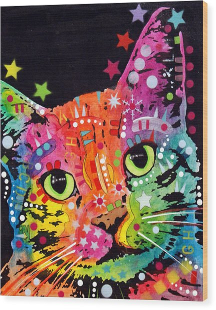 Tilted Cat Warpaint Wood Print