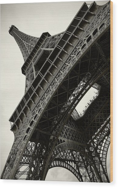 Tilted Eiffel Wood Print